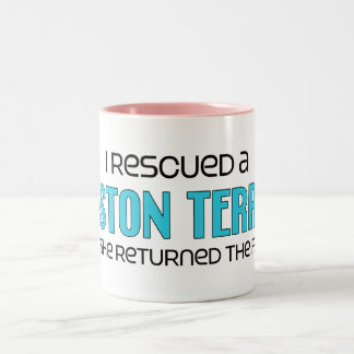 I Rescued a Boston Terrier (Female Dog) Two-Tone Coffee Mug