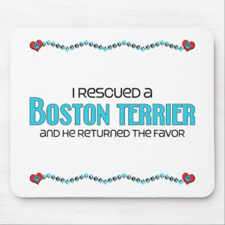 I Rescued a Boston Terrier (Male Dog) Mouse Pad