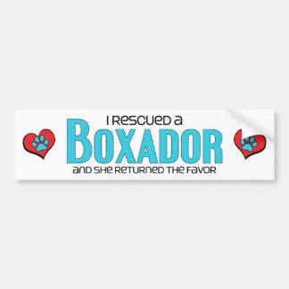 I Rescued a Boxador (Female) Dog Adoption Design Car Bumper Sticker