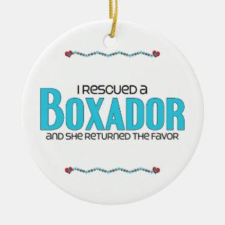 I Rescued a Boxador (Female) Dog Adoption Design Ceramic Ornament