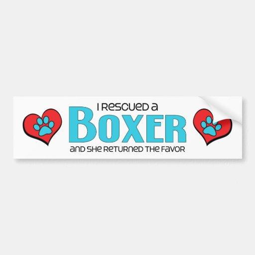 I Rescued a Boxer (Female Dog) Bumper Sticker