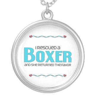 I Rescued a Boxer (Female Dog) Round Pendant Necklace
