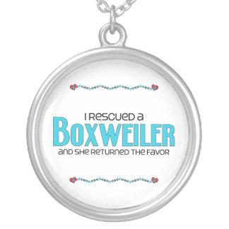 I Rescued a Boxweiler (Female) Dog Adoption Design Round Pendant Necklace