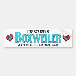 I Rescued a Boxweiler (Male) Dog Adoption Design Car Bumper Sticker
