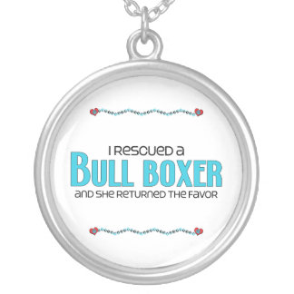 I Rescued a Bull Boxer (Female) Dog Adoption Round Pendant Necklace