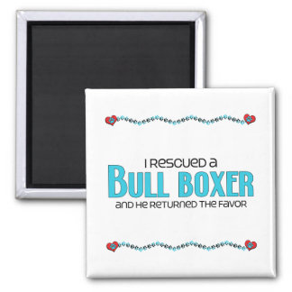 I Rescued a Bull Boxer (Male) Dog Adoption Design 2 Inch Square Magnet