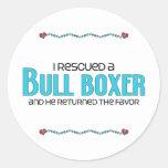 I Rescued a Bull Boxer (Male) Dog Adoption Design Classic Round Sticker