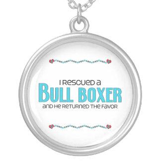 I Rescued a Bull Boxer (Male) Dog Adoption Design Round Pendant Necklace