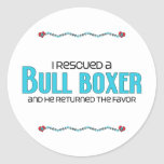 I Rescued a Bull Boxer (Male) Dog Adoption Design Round Stickers