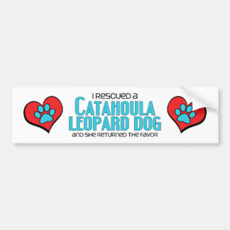 I Rescued a Catahoula Leopard Dog (Female Dog) Car Bumper Sticker