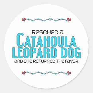 I Rescued a Catahoula Leopard Dog (Female Dog) Classic Round Sticker