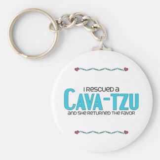 I Rescued a Cava-Tzu (Female) Dog Adoption Design Keychain