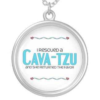 I Rescued a Cava-Tzu (Female) Dog Adoption Design Round Pendant Necklace