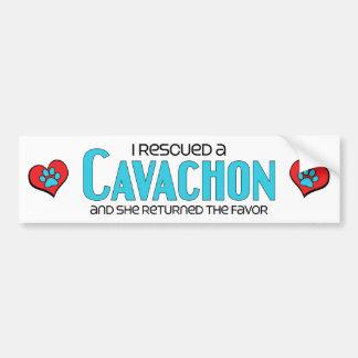 I Rescued a Cavachon (Female) Dog Adoption Design Car Bumper Sticker
