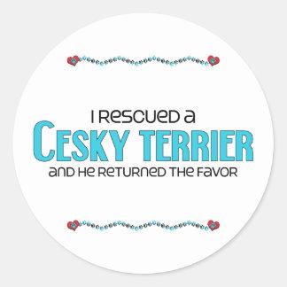 I Rescued a Cesky Terrier (Male Dog) Classic Round Sticker