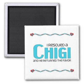 I Rescued a Chigi (Male) Dog Adoption Design 2 Inch Square Magnet
