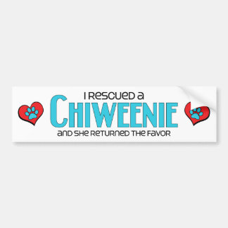 I Rescued a Chiweenie (Female) Dog Adoption Design Bumper Sticker