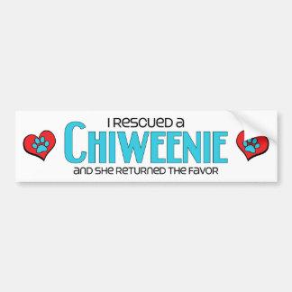 I Rescued a Chiweenie (Female) Dog Adoption Design Bumper Sticker
