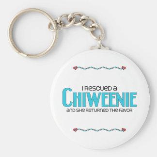 I Rescued a Chiweenie (Female) Dog Adoption Design Basic Round Button Keychain