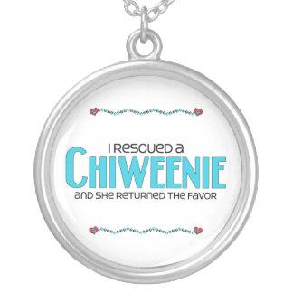 I Rescued a Chiweenie (Female) Dog Adoption Design Round Pendant Necklace