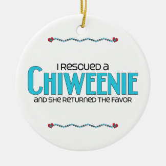 I Rescued a Chiweenie (Female) Dog Adoption Design Double-Sided Ceramic Round Christmas Ornament