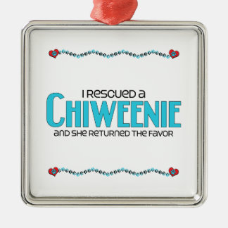 I Rescued a Chiweenie (Female) Dog Adoption Design Square Metal Christmas Ornament