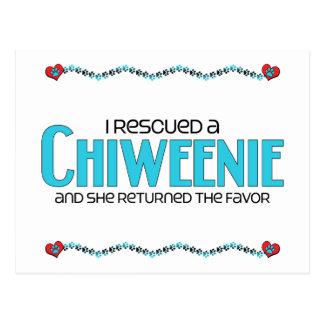 I Rescued a Chiweenie (Female) Dog Adoption Design Postcard
