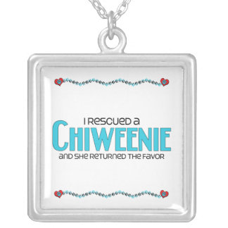 I Rescued a Chiweenie (Female) Dog Adoption Design Silver Plated Necklace