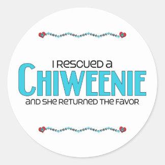 I Rescued a Chiweenie (Female) Dog Adoption Design Classic Round Sticker