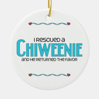 I Rescued a Chiweenie (Male) Dog Adoption Design Double-Sided Ceramic Round Christmas Ornament