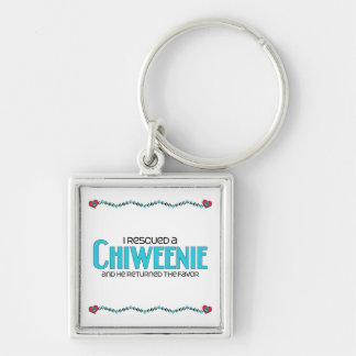 I Rescued a Chiweenie (Male) Dog Adoption Design Silver-Colored Square Keychain