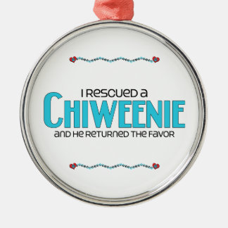 I Rescued a Chiweenie (Male) Dog Adoption Design Round Metal Christmas Ornament