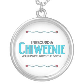 I Rescued a Chiweenie (Male) Dog Adoption Design Round Pendant Necklace