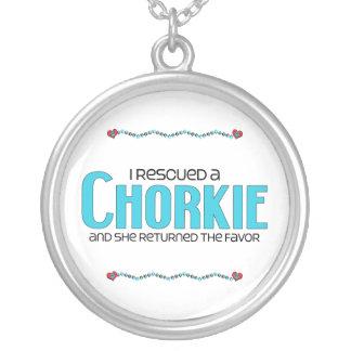 I Rescued a Chorkie (Female) Dog Adoption Design Round Pendant Necklace