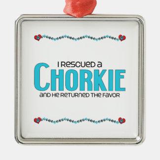 I Rescued a Chorkie (Male) Dog Adoption Design Metal Ornament
