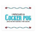 I Rescued a Cocker Pug (Male) Dog Adoption Design Postcard