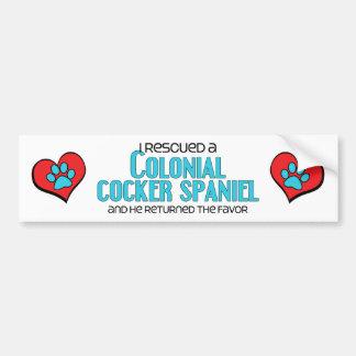 I Rescued a Colonial Cocker Spaniel (Male Dog) Car Bumper Sticker