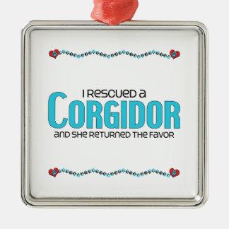 I Rescued a Corgidor (Female) Dog Adoption Design Metal Ornament