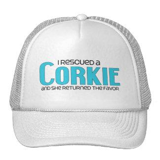 I Rescued a Corkie Female Dog Adoption Design Hats