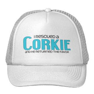 I Rescued a Corkie Male Dog Adoption Design Hat