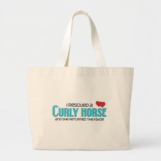 I Rescued a Curly Horse (Female Horse) Large Tote Bag