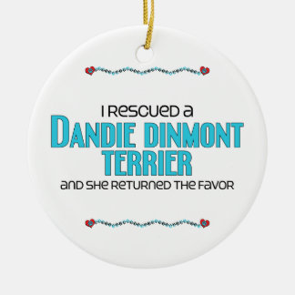 I Rescued a Dandie Dinmont Terrier (Female Dog) Christmas Ornaments