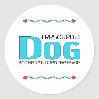 I Rescued a Dog (Male Dog) Round Stickers