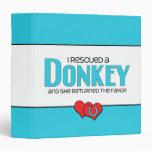 I Rescued a Donkey (Female Donkey) 3 Ring Binders