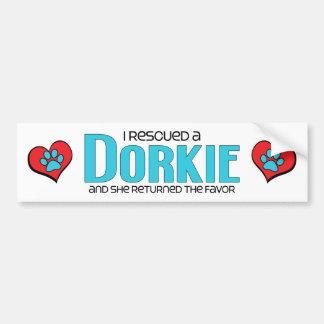 I Rescued a Dorkie (Female) Dog Adoption Design Car Bumper Sticker