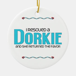 I Rescued a Dorkie (Female) Dog Adoption Design Ceramic Ornament