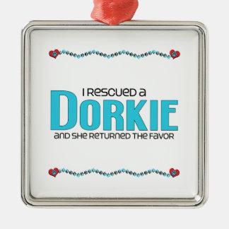 I Rescued a Dorkie (Female) Dog Adoption Design Square Metal Christmas Ornament