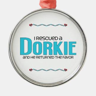 I Rescued a Dorkie (Male) Dog Adoption Design Round Metal Christmas Ornament