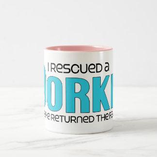 I Rescued a Dorkie (Male) Dog Adoption Design Two-Tone Coffee Mug