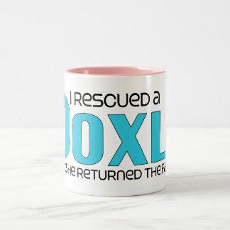 I Rescued a Doxle (Female) Dog Adoption Design Two-Tone Coffee Mug